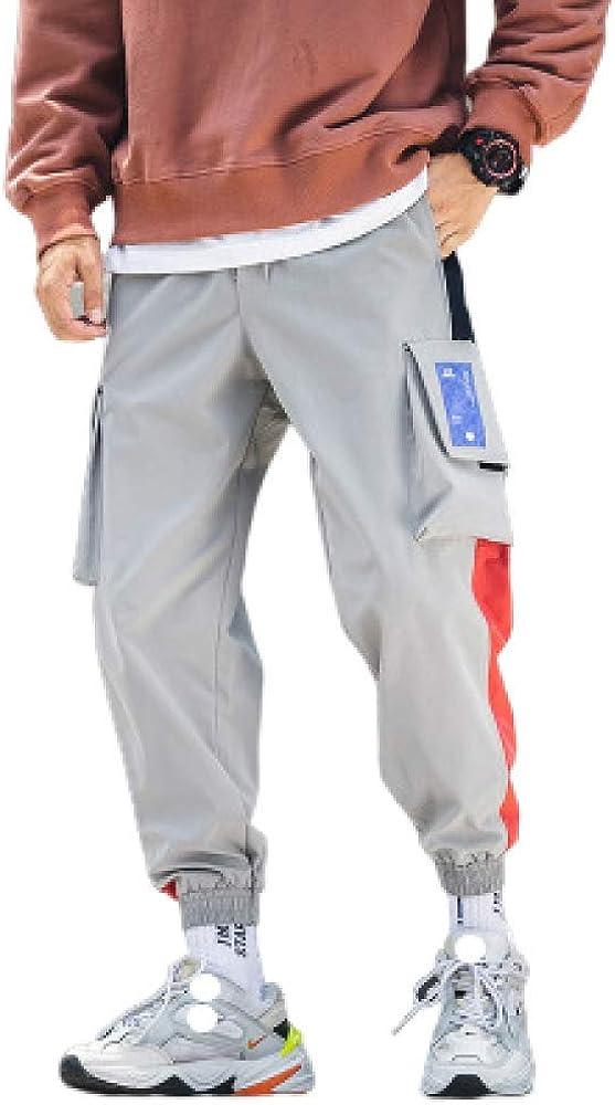 Pantalones para hombreMúltiples Bolsillos Pantalones Cargo Hip-Hop Color Combinado Pantalones Sueltos OcasionalesRopa Deportiva Parte Inferior