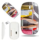 Luxlady Wireless Mouse White Base Travel 2.4G Wireless Mice with USB Receiver, 1000 DPI for notebook, pc, laptop, computer, mac design IMAGE ID 5932552 Young woman sitting on couch after day of shoppi