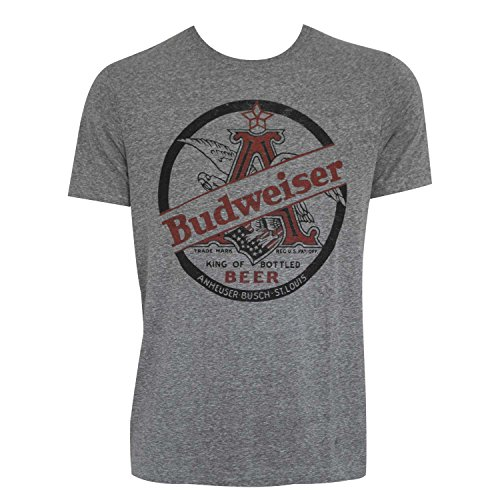 Budweiser King Of Beers Heather Grey Tee Shirt Large