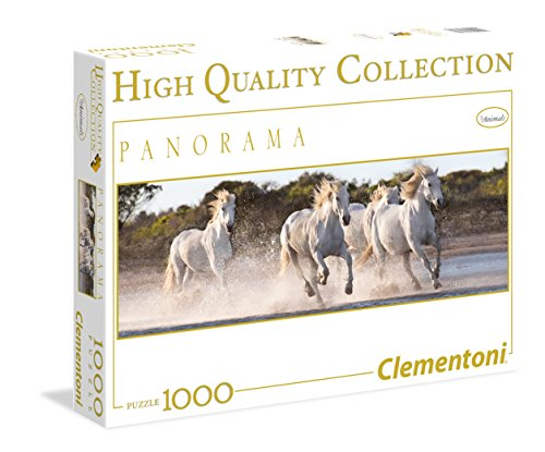 Beautiful White Running Horses in Panorama, 1000 Piece Jigsaw Puzzle Made by Clementoni