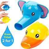 Faucet Extender for Kids - Set of 2 Animal Spout Extenders for Sink Faucets - Hand Washing for Babies, Toddlers & Children (Elephant + Duck)