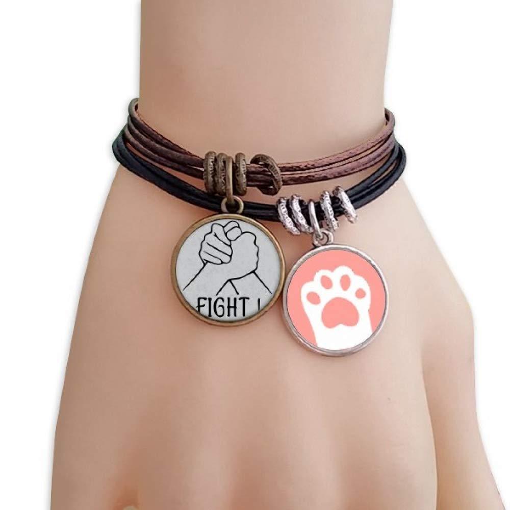 DIYthinker Wrist Wrestling Personalized Gesture Cats Bracelet Leather Rope Wristband Couple Set by DIYthinker