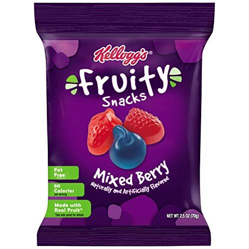 Kellogg's Fruity Snacks, Mixed Berry, Gluten Free, Fat Free, Bulk Size, 120 oz (Pack of 48, 2.5 oz Pouches)