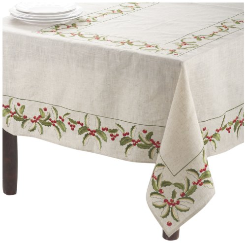 SARO LIFESTYLE QX653 Holiday Holly Tablecloth, 65-Inch by 140-Inch, Natural by SARO LIFESTYLE