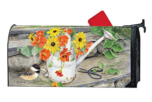 Weather Vinyl Mailbox Cover - MailWraps Studio M Sunshine and Water Decorative Spring Summer Floral, The Original Magnetic Mailbox Cover, Made in USA, Superior Weather Durability, Standard Size fits 6.5W x 19L Inch Mailbox