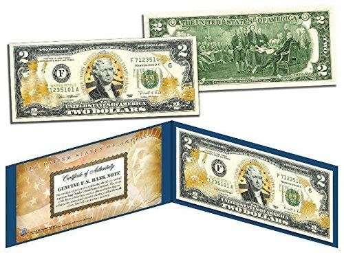 U.S. MARINES IWA JIMA OFFICIAL LICENSED GOLD HOLOGRAM $2 BILL! W/H PROTECTIVE FOLIO!
