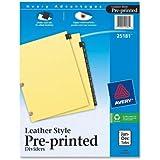 Avery Black Leather Preprinted Dividers with Jan-Dec Tabs, 12-Tab Set, 1 Set (25181)