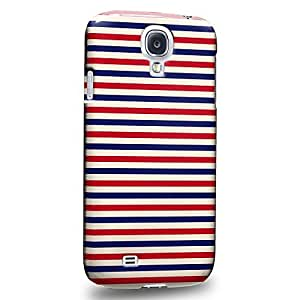 Case88 Premium Designs Art Americana USA Design Red Blue Stripes Protective Snap-on Hard Back Case Cover for Samsung Galaxy S4