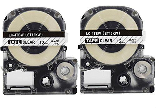 2PK Onirii Compatible Epson Labelworks Label Tape Cartridge LW-300 LW-400 LW-500 LW-600 LC-4TBN9(LK-4TBN) Black On Clear Label Maker Tape Refill Cartridge 12mmx26.2ft ()
