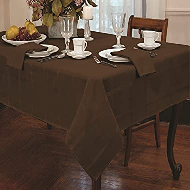 Eforcurtain Elegant Plaid Rectangular Polyester Tablecloth Solid Rustic Table Cover Home Decor 60inch By 120inch, Chestnut