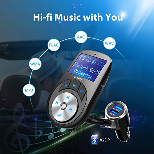VicTsing Bluetooth FM Transmitter, Wireless Radio Adapter Hands-free Car Kit USB Car Music Player with 1.44 Inch Display Screen, Off Switch, Three USB Ports, AUX Input/Output, TF Card