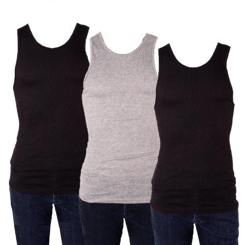 Knocker Men's 3 Tank Top Undershirts A-Shirt-3XL-2 Black, 1 Gray