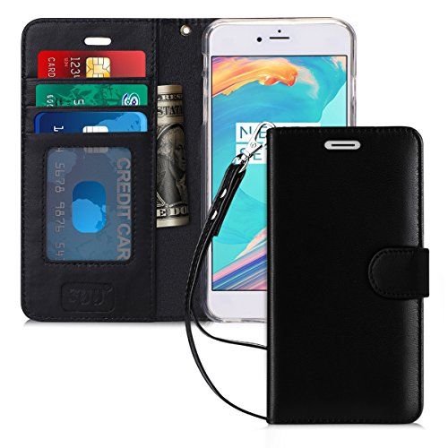 FYY Case for iPhone 6S Plus/iPhone 6 Plus, [Kickstand Feature] Flip Folio Genuine Leather Wallet Case with ID and Credit Card Pockets for Apple iPhone 6/6S Plus (5.5) Black
