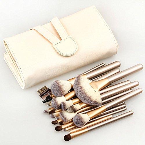 Pro 24 Pcs Makeup Brushes Cosmetic Tool Kit Eyeshadow Powder Brush Set+ Case (Natural Sand Lighted Pot Rack)