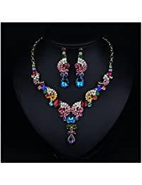 Costume jewelry Fashion Crystal Choker Pendant Statement Charm Necklace and Earrings