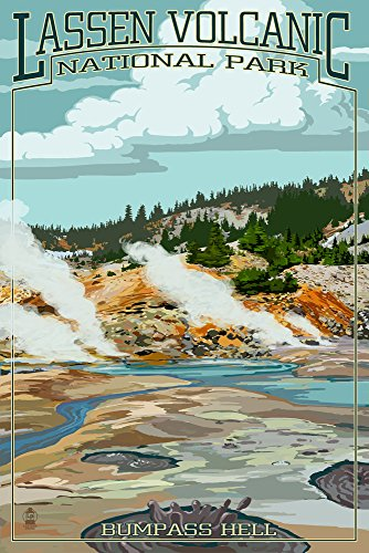Lassen Volcanic National Park, California - Bumpass Hell (16x24 Giclee Gallery Print, Wall Decor Travel Poster)