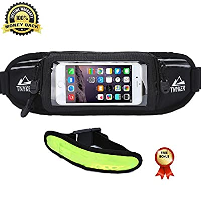 Running Belt - #1 Premium Running Fuel Treadmill Fitness Workout Belt For iPhone 6 6S 6 Plus 7 7S / Plus & Android Smartphones - Touchscreen Compatible - Waist Pack For Men&Women & LED Safety Armband