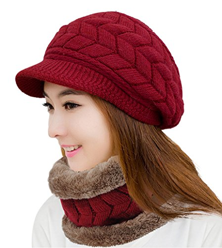 HINDAWI Winter Scarf Hat Visor Caps Infinity Scarves Knit Warm Snow Outdoor Hats for Women Red