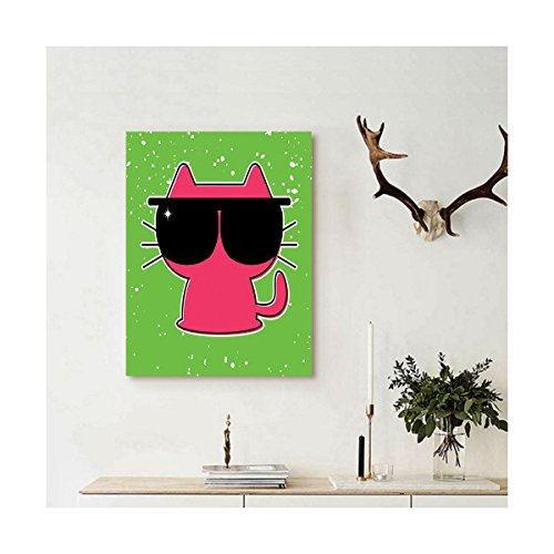 Liguo88 Custom canvas Kids Decor Cute Cat with Sunglasses Hipster Baby Animal Nursery Children Design Wall Hanging for Lime Green Pink - Sunglasses Tumblr Hipster