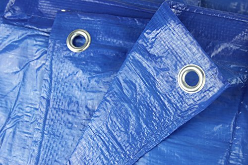 Hanjet 8' x 10' 5-mil Multi-purpose Waterproof Reinforced Rip-Stop Outdoor Tarp with Grommets Blue