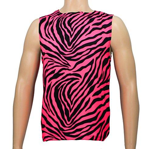 Men's Neon Zebra Heavy Metal Tank Top Shirt (X-Large, Pink)