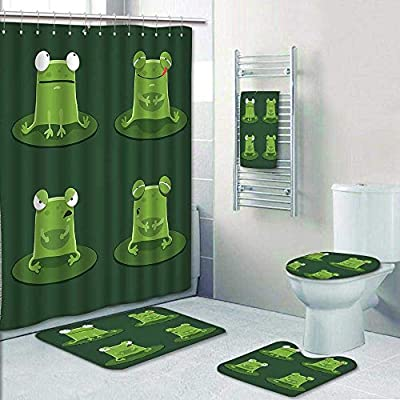 AmaPark 5-Piece Bathroom Set-Funny Muzzy Frog on Lily Pad in Pond Hunting Tasty Fly Expressions Cartoon Prints Decorate The Bath,1-Shower Curtain,3-Mats,1-Bath Towel