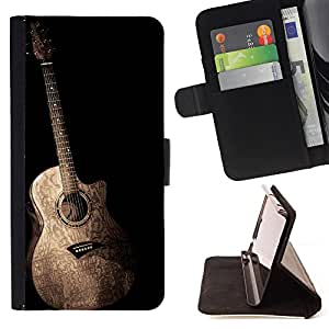 Super Marley Shop - Leather Foilo Wallet Cover Case with Magnetic Closure FOR Apple iPhone 5 5S- Guitar Music