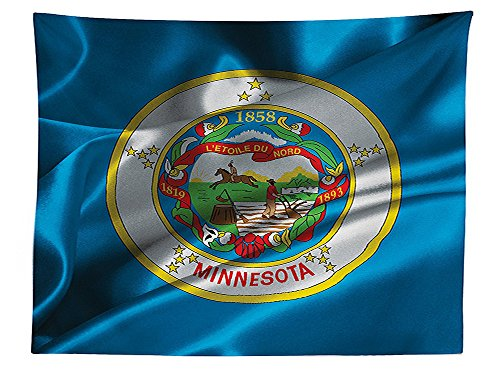 vipsung American Decor Tablecloth Minnesota Flag Flying Wreath of the Lady Slipper the State Flower State History Dining Room Kitchen Rectangular Table Cover