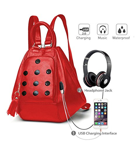 for port girls Aux music Red and Especial designer port 3 Deal backpack Stylish bag use way USB shoulder charging Pink Carrot with wUaqIZ