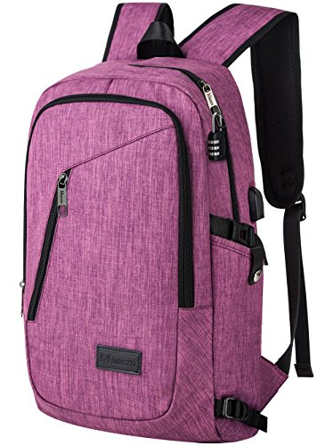 Travel Outdoor Computer Backpack Laptop Bag (Purple) - 3