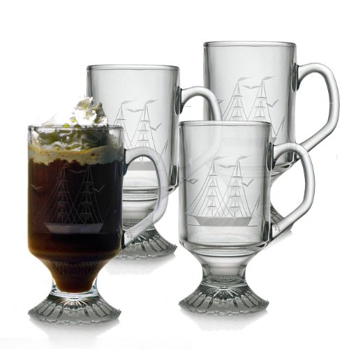 Footed Cut Glass - Susquehanna Glass Clipper Ship Sand Etched/Hand Cut Footed Glass Mugs, Set of 4, 10 ounces