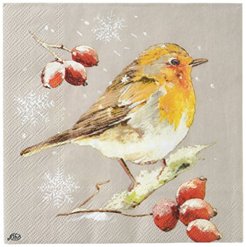Ideal Home Range 20-Count Linen Winter Robin Paper Luncheon Napkins, -