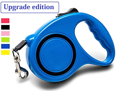 Retractable Dog Leash,Chongzhi 16 ft Walking Dog Leash for Medium Small Dogs up to 33lbs, Tangle Free, One Button Break & Lock (16ft, blue)