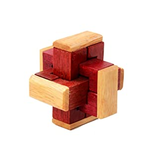 1 Set 3D in legno KongMing Lock Set Rompicapo Puzzle classica Luban Jigsaw Game Cube per bambini e adulti (Red Block)