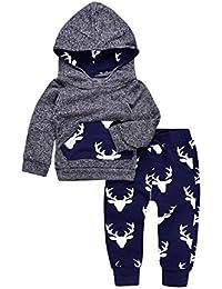 2pcs bebé Deer impresión sudaderas con capucha con bolsillo parte superior + Pantalones Largos de Rayas Otoño...