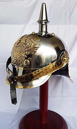 saif.nautical.store Shiv Shakti Enterprises World War I & II Pickelhaube German Steel Helmet Brass Accents Prussian Officer Spike Helmet]()