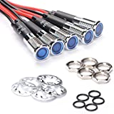 """Amotor LED Indicator Light, Instrument Cluster Waterproof and Explosion-proof 5/16"""" 8mm 12V Metal Signal Light with Cable 5PCS(Blue)"""