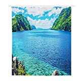 GULTMEE Decorative Shower Curtain,Scenic View Sea