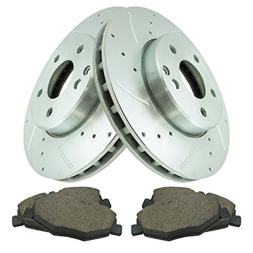 Performance Brake Rotor Drilled Slotted Coated & Posi Ceramic Pad Front Kit ()