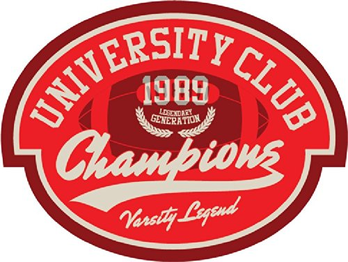 University Club Champions Amercian Football Rugby Sport Emblem Badge Hochwertigen Auto-Autoaufkleber 12 x 10 cm