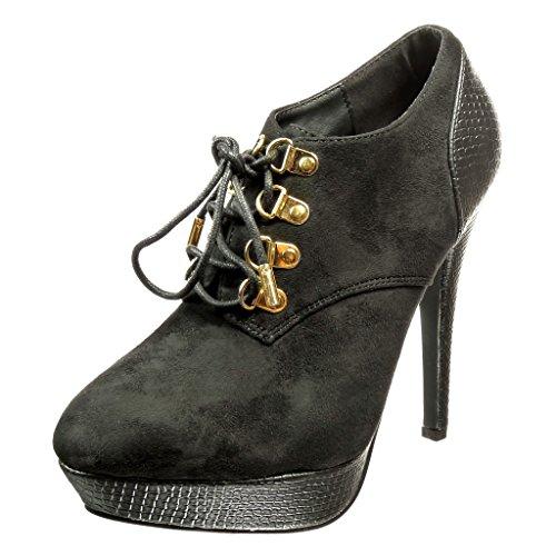 CM Schuhe 12 Heel Booty High Schwarz Schlangenleder Boots Ankle Stiletto Angkorly Stiletto Metallic Plattform Damenmode Stiefel niedrige gwqU6Z5B
