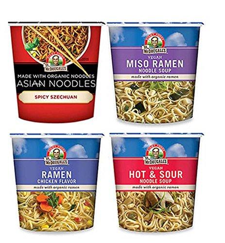 Soy Ginger Ramen (Dr. McDougall's Vegan Asian Noodle Cups 4 Flavor Variety Bundle, 1 Ea: Spicy Szechuan, Miso Ramen, Chicken Ramen, and Hot & Sour, 1.8-2 Oz.)