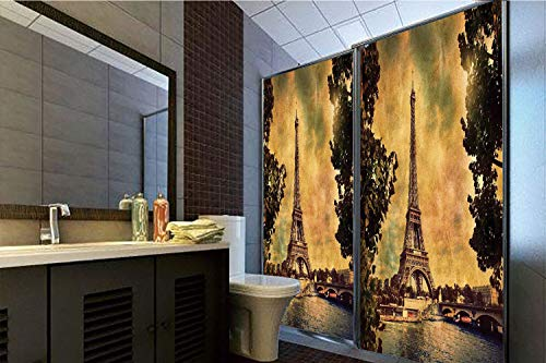 """Price comparison product image Decorative Privacy Window Film,  35.43""""H x 23.62""""W for Home&OfficeEiffel Tower Decor, Eiffel Tower Trees River Bridge Water Daytime Landmark Oil Painting Design Print, Brown Mustard, 35.43""""H x 23."""