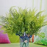 Plastic Green 7 Stems Artificial Asparagus Fern Bush Plants Home Cafe Office Decoration