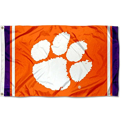 (College Flags and Banners Co. Clemson Tigers Jersey Stripes Flag)