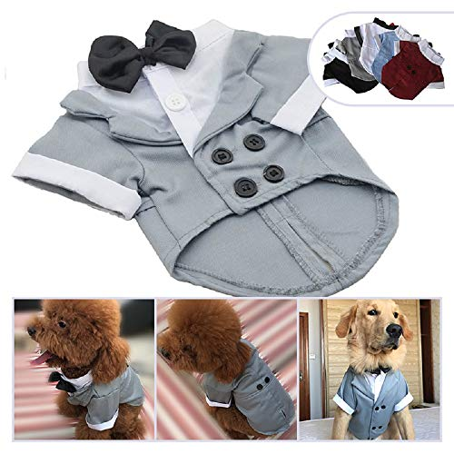 Lovelonglong Pet Costume Dog Suit Formal Tuxedo with Black Bow Tie for Small Dogs Pug Clothing Gray XL from Lovelonglong