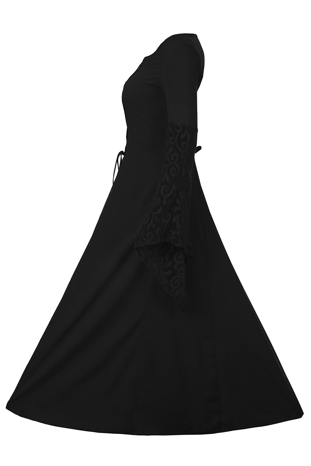 EastLife Women's Halloween Costumes Renaissance Medieval Dress Lace Up Vintage Floor Length Long Witch Dresses, Black, XXL by EastLife (Image #3)