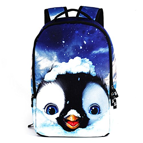 HANRUI Personalized Unisex 3D Animal School Backpacks (Penguin)
