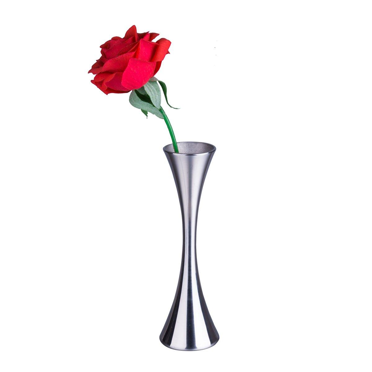 IMEEA 一輪挿し 花瓶 ミニ花瓶 ステンレス製 かわいいらし かびん スリム花瓶 花入れ 花束 飾り花瓶 シルバー B06XHGYNTH
