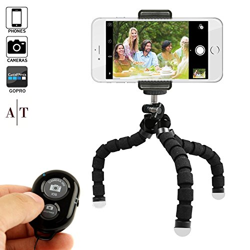 Phone Tripod, Auto Tech Portable and Adjustable Phone Stand Holder with Bluetooth Remote and Universal Clip for any Smartphone, Cellphone, Camera, GoPro, iPhone Tripod | Flexible Mini iPhone Stand